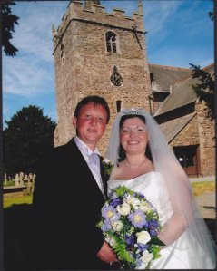 Bride & Groom outside Guilsfield Church