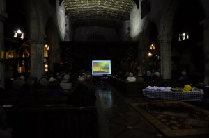 View of church showing artwork projected during 'Jesus Remember Me'