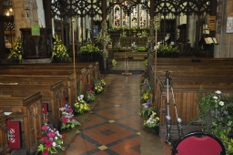 A view of the church during the Flower Festival