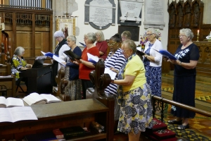 The Singing Group performing one of three numbers at the St Asaph Diocese MU 125th Anniversary Service held at Guildfield Church on 9th August 2017.