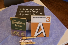 The first memory box with items from schooldays.