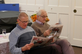 John and Roy read 'The Two Ronnies' style news items from the County Times