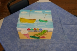 Seaside Holiday Memory Box showing outside decorated with seaside scenes.