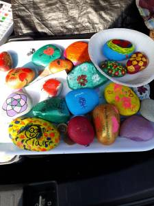 Rocks decorated ready for the Mothering Sunday Family Service