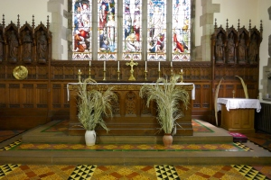 Altar decorated with Palms for Palm Sunday